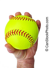 Player Gripping a Yellow Softball