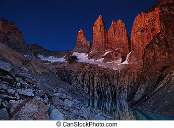 Torres del paine before sunrise