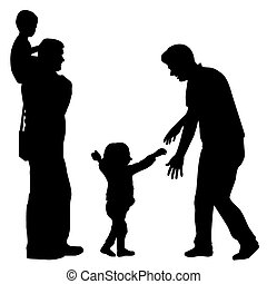Gay family - Silhouettes of gay family with kids