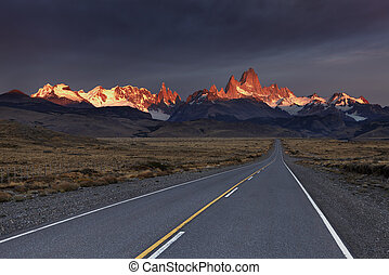 Mount Fitz Roy at sunrise Los Glaciares National Park,...