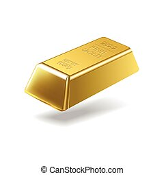 Fine gold ingot isolated on white background Vector...