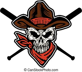 cowboy skull baseball mascot team design with crossed bats...