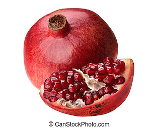 Pomegranate fruit - Open pomegranate with seed on white...