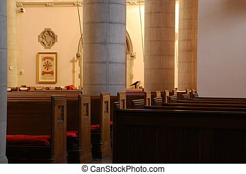 A Veiw of a Church - A veiw of pews in an Episcopalian...