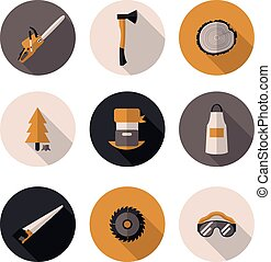 flat icons Woodman in vector format eps10