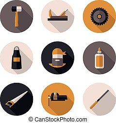 flat icons carpenter in vector format eps10
