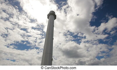 lighthouse with blue sky,clouds.Malapascua Island