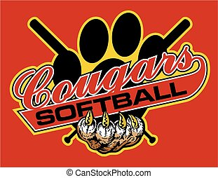 cougars softball team design with crossed bats for school,...