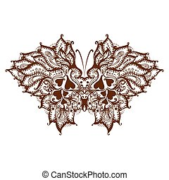Elements painted butterfly with henna
