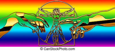 human - The Vitruvian Man with Michelangelo-Hands