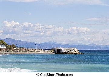 promontório, sobre, azul, mar,