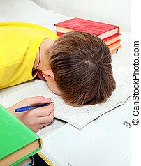 Kid sleep on the Books - Tired Kid sleep with the Books on...
