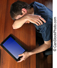Tired Man sleep with Tablet - Tired Young Man sleep with...