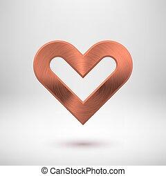 Bronze Metal Heart Sign - Bronze abstract heart sign badge,...