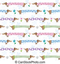 Seamless pattern with dachshunds