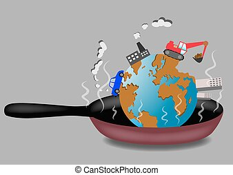 Planet Earth roasting on frying pan vector illustration...