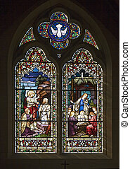 Christmas - Nativity scene - Stained glass windows...