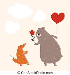 A bear in love with a fox - Vector illustration of a bear,...