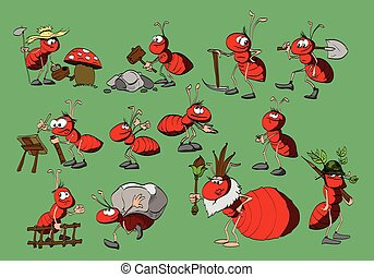 Cartoon ants collection - Set of cartoon red ants...
