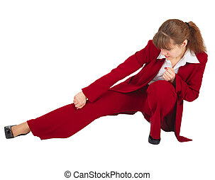 Business woman kicks isolated on white