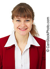 Portrait of smiling business woman isolated on white