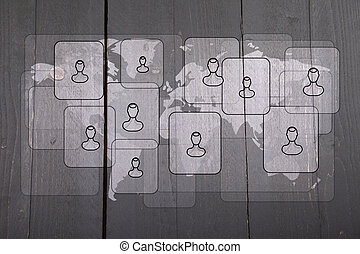 Illustration of people on white world map on dark black...