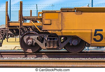 Cargo Railroad Car Closeup Photo. Cargo Railroad...