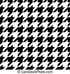 Houndstooth tile black and white pattern or vector...