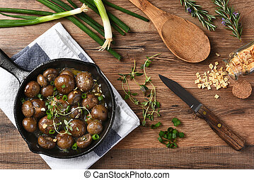 Sauteed Mushrooms - High angle view of sauteed mushrooms in...