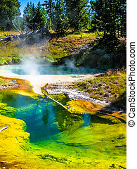 Seismograph Pool in Yellowstone - Spectacular colorful...