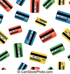 Many colourfull credit cards on white, seamless pattern - A...