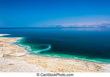 Landscape Dead Sea coastline in summer sunny day