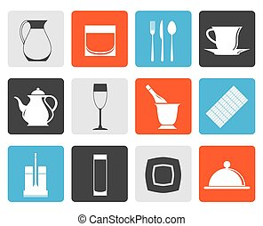 cafe, bar and night club icons - Flat restaurant, cafe, bar...