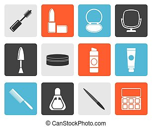 Flat cosmetic and make up icons