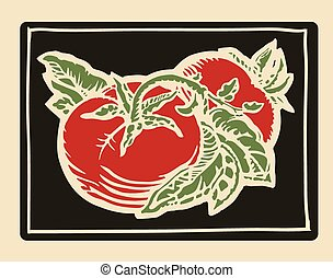 Tomatoes woodcut - Couple of tomatoes in woodcut print style