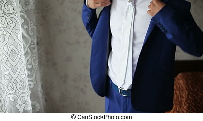 man dresses for wedding - Young bride dress and shirt...