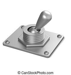 Metal toggle switch 3D render illustration isolated on white...