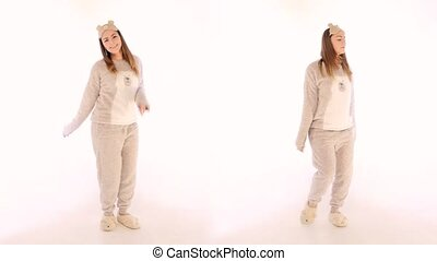 Twin Sisters Dancing on White Background - Twin Sisters in...