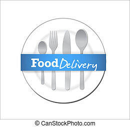 food delivery plate and utensils