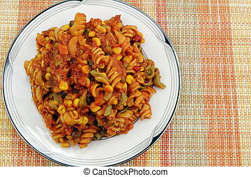 Pasta with Vegetables and Tomato Sauce - Cooked tri-color...