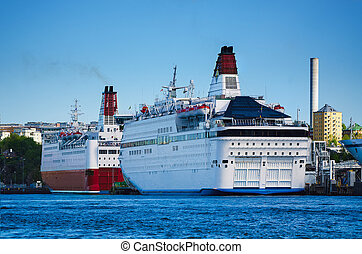 Huge sea ferry in the Stockholm port, transport vacation...