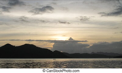 Time lapse of sunset in Coron town, Philippines - Coron town...