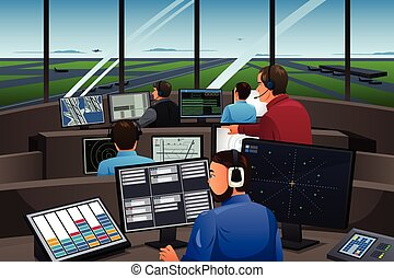Air Traffic Controller Working in the Airport - A vector...