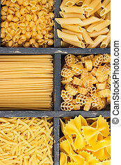 Different types of pasta in the wooden box