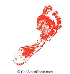 Foot print on white background.