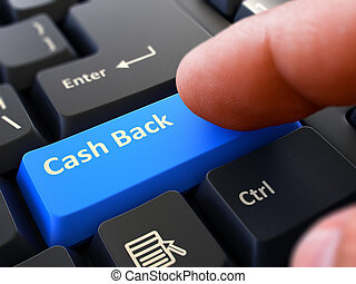 Press Button Cash Back on Black Keyboard - Computer User...