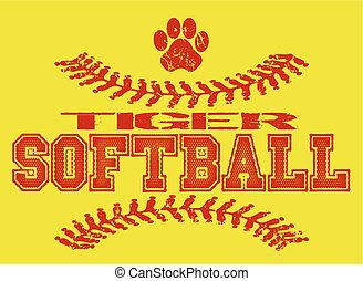 tiger softball - distressed tiger softball team design with...