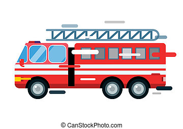 Fire truck car isolated cartoon silhouette - Fire truck car...