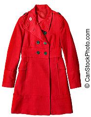 Woman long coat - Woman red long coat isolated on white...