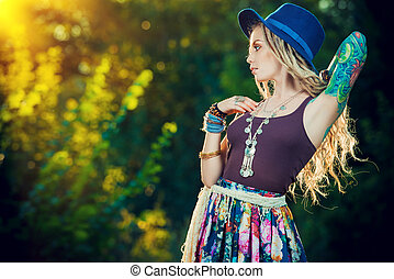 boho clothes - Boho style fashion. Beautiful young woman...